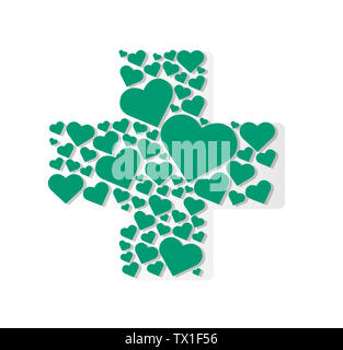 hearts in cross medical shape hospital icon - Stock Photo