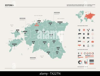 Vector map of Estonia. Country map with division, cities and capital Tallinn. Political map,  world map, infographic elements. - Stock Photo