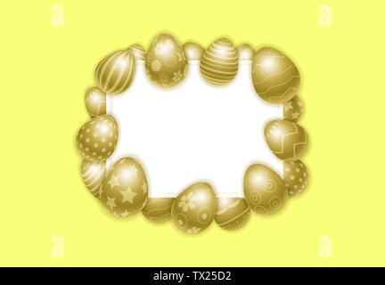 Vector Happy Easter background with golden eggs. Template for promotion, ad, sale, flyer, greeting card, poster, invitation, banner, offer. Frame for - Stock Photo