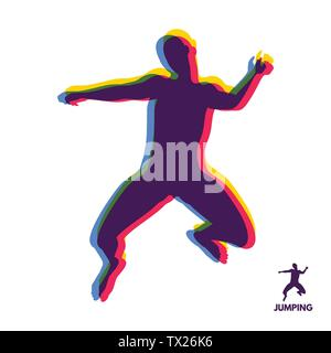 Silhouette of a jumping man. Design template for Sport. Vector Illustration. - Stock Photo