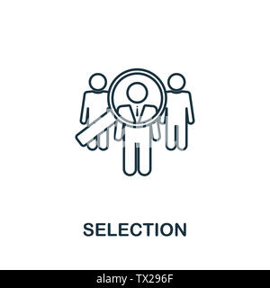 Selection icon symbol in outline style. Creative sign from human resources icons collection. Thin line Selection icon for computer and mobile. Symbol, - Stock Photo