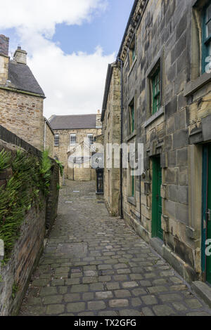 Cobbled back street in the village of Longnor, Staffordshire, UK