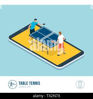 Professional sports competition: table tennis players during a match, mobile app - Stock Photo