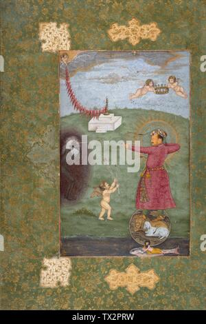 'Emperor Jahangir Triumphing Over Poverty (image 1 of 2); English:  India, Mughal empire, circa 1620-1625 Drawings; watercolors Opaque watercolor, gold, and ink on paper Image:  9 3/8 x 6 in. (23.81 x 15.24 cm); Sheet:  14 1/2 x 9 11/16 in. (36.83 x 24.61 cm) From the Nasli and Alice Heeramaneck Collection, Museum Associates Purchase (M.75.4.28) South and Southeast Asian Art; between circa 1620 and circa 1625 date QS:P571,+1620-00-00T00:00:00Z/8,P1319,+1620-00-00T00:00:00Z/9,P1326,+1625-00-00T00:00:00Z/9,P1480,Q5727902; ' - Stock Photo