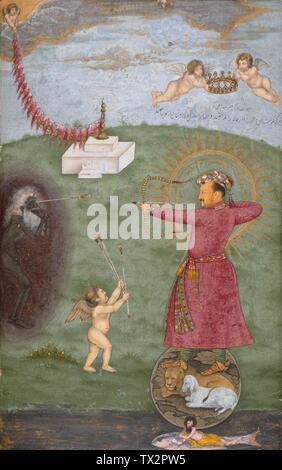 'Emperor Jahangir Triumphing Over Poverty (image 2 of 2); English:  India, Mughal empire, circa 1620-1625 Drawings; watercolors Opaque watercolor, gold, and ink on paper Image:  9 3/8 x 6 in. (23.81 x 15.24 cm); Sheet:  14 1/2 x 9 11/16 in. (36.83 x 24.61 cm) From the Nasli and Alice Heeramaneck Collection, Museum Associates Purchase (M.75.4.28) South and Southeast Asian Art; between circa 1620 and circa 1625 date QS:P571,+1620-00-00T00:00:00Z/8,P1319,+1620-00-00T00:00:00Z/9,P1326,+1625-00-00T00:00:00Z/9,P1480,Q5727902; ' - Stock Photo