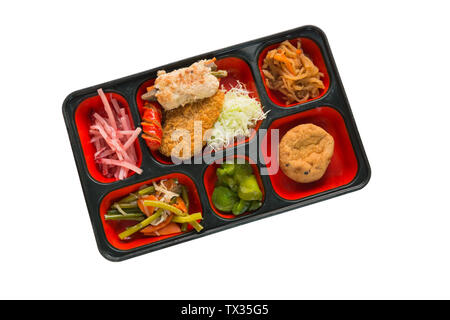 Japan Food set of Pork Fritter and other in a box isolated on white / Japan food (Bento). - Stock Photo