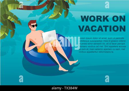 Young man floating on an blue inflatable circle with laptop flat vector illustration work at vacation horizontal banner - Stock Photo