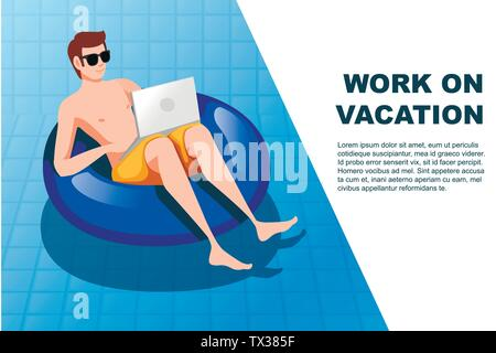 Young man floating on an blue inflatable circle with laptop swimming pool flat vector illustration work at vacation horizontal banner - Stock Photo
