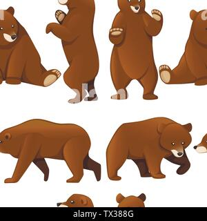 Seamless pattern of grizzly bears. North America animal, brown bear. Cartoon animal design. Flat vector illustration on white background - Stock Photo