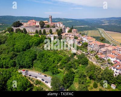Motovun, a hilltop town in Istria, Croatia - Stock Photo