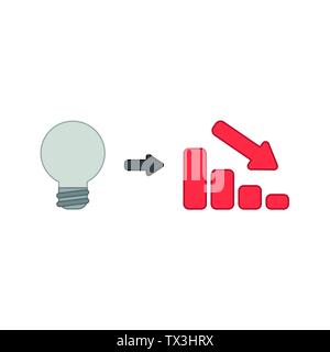 Vector icon concept of grey light bulb idea with red sales bar chart moving down. Colored outlines. - Stock Photo