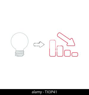 Vector icon concept of grey light bulb idea with red sales bar chart moving down. White background and colored. - Stock Photo