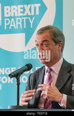 London, United Kingdom. 24 June 2019. The Brexit Party hold a press conference on 'Electoral reform and the defence of democracy'. Brexit Party leader Nigel Farage MEP and Brexit Party Chairman Richard Tice MEP presented a statement and presentation of policy over postal votes. Credit: Peter Manning/Alamy Live News - Stock Photo