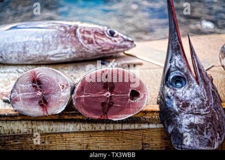 Swordfish Catania market Sicily Italy - Stock Photo