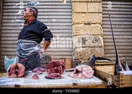 Catania fish market Sicily Italy - Stock Photo