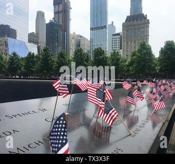 4th July memorial flags at the National 9 11 Memorial & Museum, New York City, New York, USA - Stock Photo