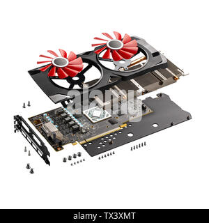 Explode view of new modern gaming graphics card on white background - Stock Photo