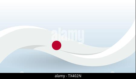 Japan National flag. Waving unusual shape. Design template for decoration of flyer and card, poster, banner and logo. Isolated vector illustration. - Stock Photo