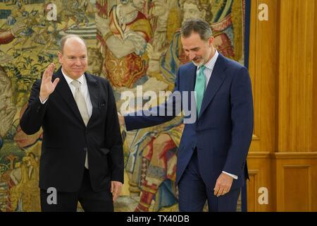 Spanish King Felipe VI meeting with Prince Albert II of Monaco during his official visit to Spain at ZarzuelaPalace in Madrid on Friday, 21 June 2019.  Cordon Press - Stock Photo