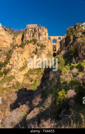 Spain, Andalusia, Province Malaga, Ronda, Puente Nuevo and Canyon del Tajo, El Tajo - Stock Photo