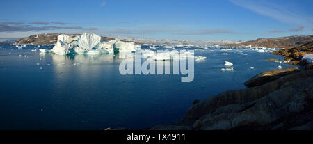 Greenland, East Greenland, Johan Petersens Fjord, icebergs - Stock Photo