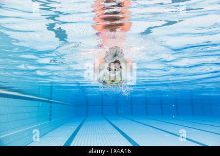 Swimmer diving, underwater - Stock Photo