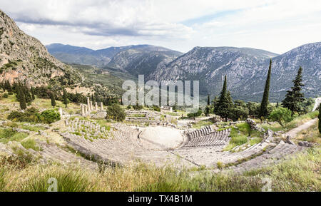 Greece, Delphi, theater, Athenian Treasury and Temple of Apollo - Stock Photo