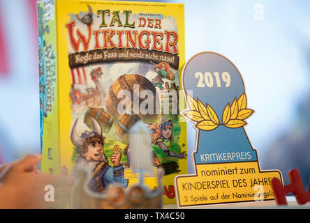 Hamburg, Germany. 24th June, 2019. The board game 'Valley of the Vikings' stands on a table. It was awarded Child's Game of the Year. Credit: Axel Heimken/dpa/Alamy Live News - Stock Photo