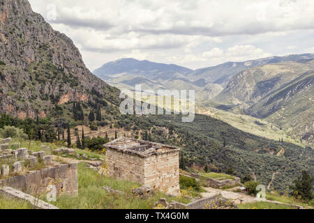 Greece, Delphi, Athenian Treasury - Stock Photo