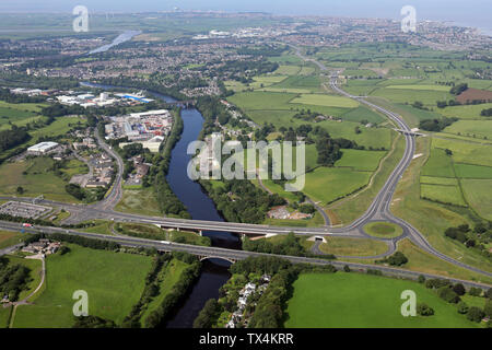 aerial view of the Lancaster Northern Bypass A683, Heysham to M6 link road, Lancashire - Stock Photo