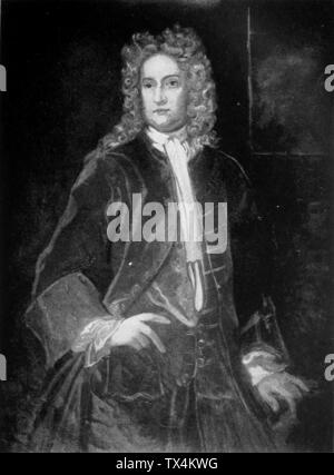 Portrait of Sir William Berkeley, Governor of Virginia. Image ca. 1917 of a painting at Library of Virginia, after an original painting circa 1663.; Photo image published 1917; Page 146 of Mary Newton Stanard (1865-1929), Colonial Virginia, its People and Customs. Philadelphia: J.B. Lippincott & Co., 1917. From digital scan at https://archive/details/colonialvirginia00stan; Painter Hariott L.T. Montague after Sir Peter Lely[1]; - Stock Photo
