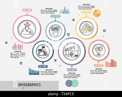Vector Infographics flat template circles origami style. Can be used for diagram, graph, presentation, business concept options, content, flowchart, t - Stock Photo