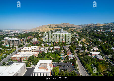 USA, Utah, Salt Lake City, view over Salt Lake City with the Utah State Capitol - Stock Photo
