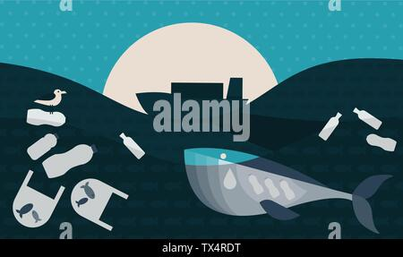 Vector Illustration. Poster with Ecological Theme: Plastic Pollution in the Ocean. The Whale with Plastic Bottles in Stomach, The Seabird sitting on F - Stock Photo