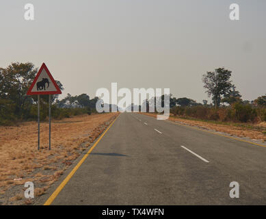 South Africa, Mpumalanga, Beware of the Elephant sign on the road to Kruger National Park - Stock Photo