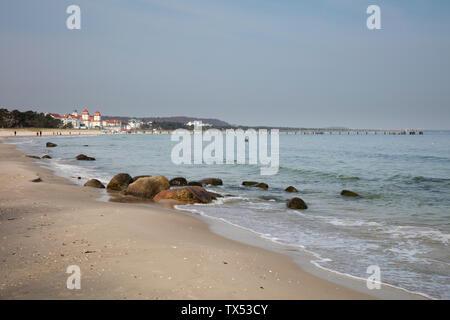Germany, Ruegen, baltic seaside resort Binz, beach - Stock Photo