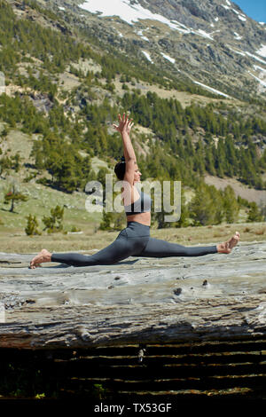 Young woman doing yoga on tree trunks in nature - Stock Photo