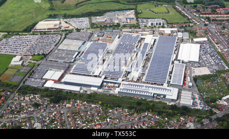 aerial view of the Bentley Motors car factory at Crewe - Stock Photo