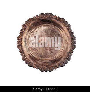 Vintage empty round metal plate top view isolated - Stock Photo