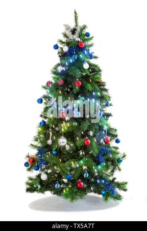 Festive Christmas tree decorated ,Beautiful new year background, isolated on white - Stock Photo