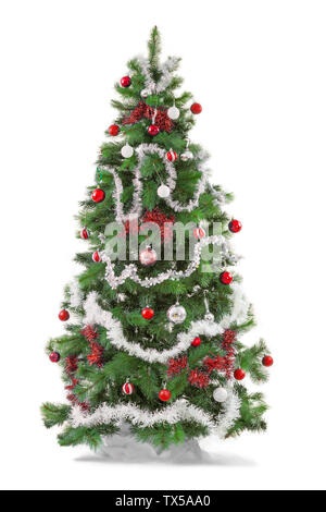 Red and white Decorated christmas tree, isolated on white background - Stock Photo