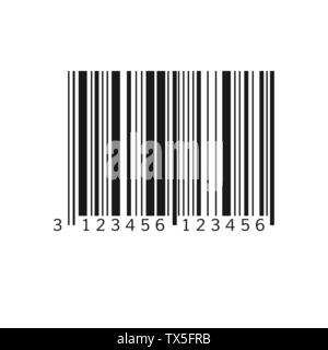 Unique bar code. Striped identification information about product. Vector illustration isolated on white background - Stock Photo