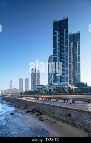 Galle Face Green and Galle Face Beach, Colombo, Sri Lanka - Stock Photo