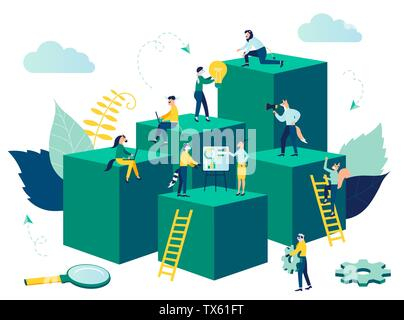 Virtual business assistant vector illustration. Teamwork on performance, card investment management, brainstorming. investing money in a project concept - Stock Photo