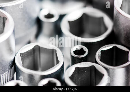 Tools for repair. Chrome mechanics tools set. Shop socket sets hand tools. Wide range of metric sockets. Made from advanced quality chrome vanadium steel. Strength durability and corrosion protection. - Stock Photo