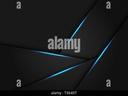 Abstract blue light on dark grey metallic  polygon design modern futuristic background vector illustration. - Stock Photo