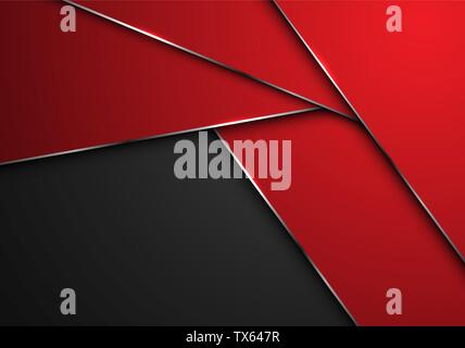 Abstract red silver line polygon overlap on grey blank space design modern futuristic background vector illustration. - Stock Photo
