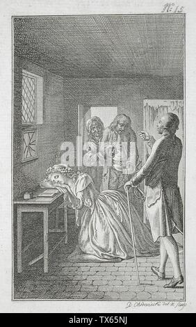 'Illustration for Richardson's 'Clarissa'; English:  Germany, 1785 Plate: Plate 15 Prints; etchings Etching Gift of Vergil Whirlow (55.103.179) Prints and Drawings; 1785date QS:P571,+1785-00-00T00:00:00Z/9; ' - Stock Photo