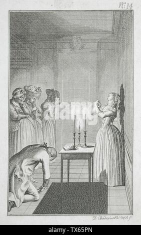 'Illustration for Richardson's 'Clarissa'; English:  Germany, 1785 Plate: Plate 14 Prints; etchings Etching Gift of Vergil Whirlow (55.103.178) Prints and Drawings; 1785date QS:P571,+1785-00-00T00:00:00Z/9; ' - Stock Photo