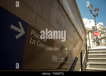 Paris, France - July 06, 2018: Bottom view of the exit sign from the metro station to Concord Square in Paris - Stock Photo